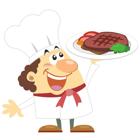 commend: cartoon cook with white background  Illustration