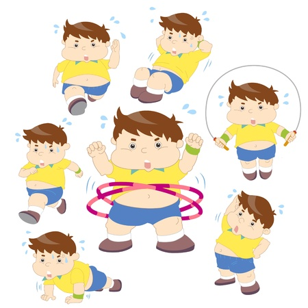 illustration of overweight boy fitness collection  Vector