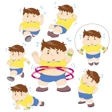 obeso: Ilustração de coleta de fitness menino acima do peso