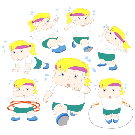 stocky: illustration of overweight girl fitness collection  Illustration
