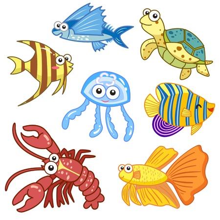 cartoon sea animals set with white background  Illustration