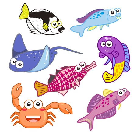 stingray: cartoon sea animals set with white background  Illustration