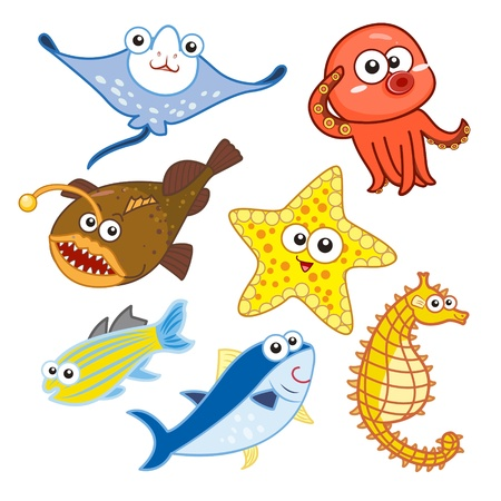 cartoon sea animals set with white background  Vector