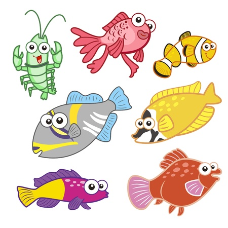 cartoon sea animals set with white background  Stock Vector - 20833931