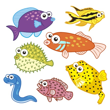 cartoon sea animals set with white background Stock Vector - 20833932