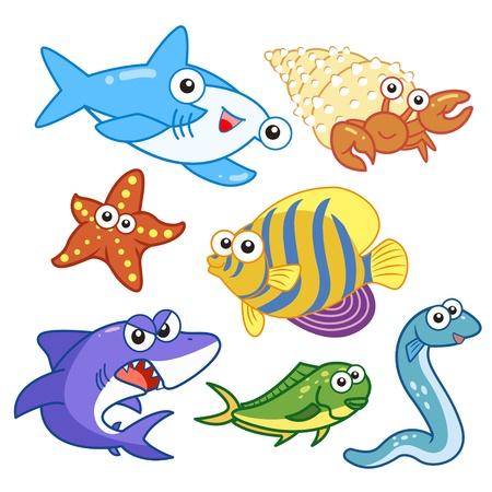 fond marin: animaux marins de bande dessin�e Set avec un fond blanc