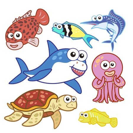 swordfish: cartoon sea animals set with white background  Illustration
