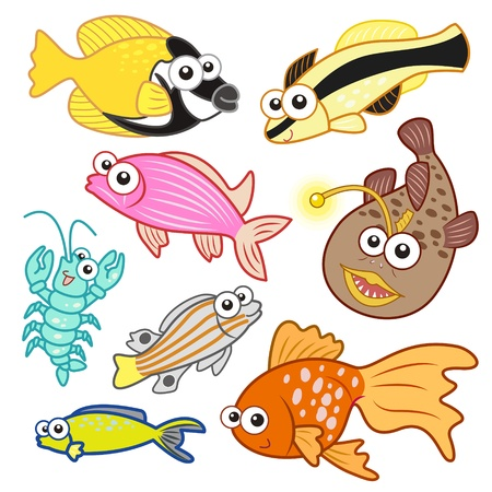cartoon sea animals set with white background  Stock Vector - 20833958