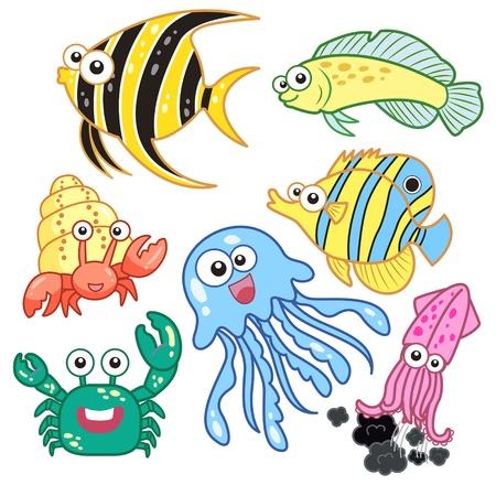 fondali marini: animali marini del fumetto impostati con sfondo bianco Vettoriali
