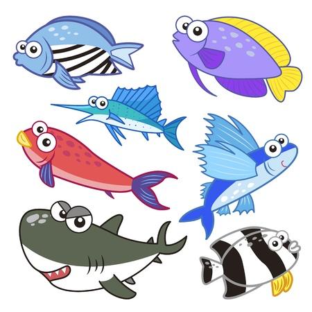 cartoon sea animals set with white background  Ilustracja