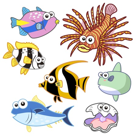 sunfish: cartoon sea animals set with white background  Illustration