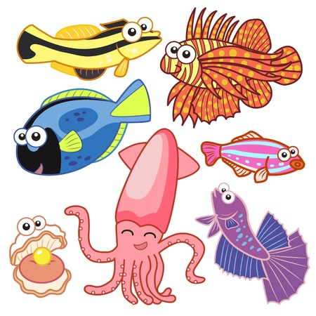 cartoon sea animals set with white background Stock Vector - 20833973