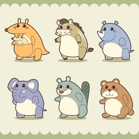 nutria caricatura: animales lindos retro conjunto