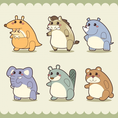 retro cute animals set  Vector
