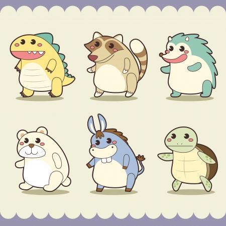 cartoon hedgehog: retro cute animals set  Illustration