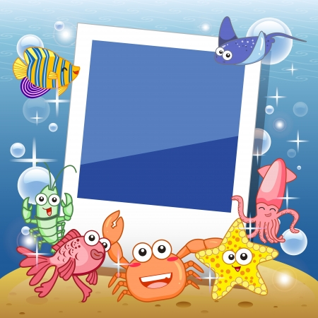 seabed: Decorative frame for photo with tropical bright fishes