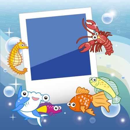 alga: Decorative frame for photo with tropical bright fishes