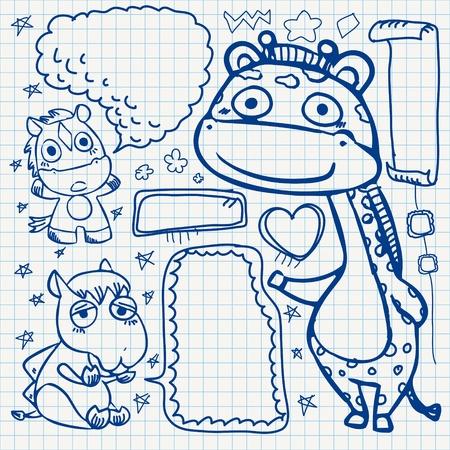 set of notebook paper doodles. Stock Vector - 20834090
