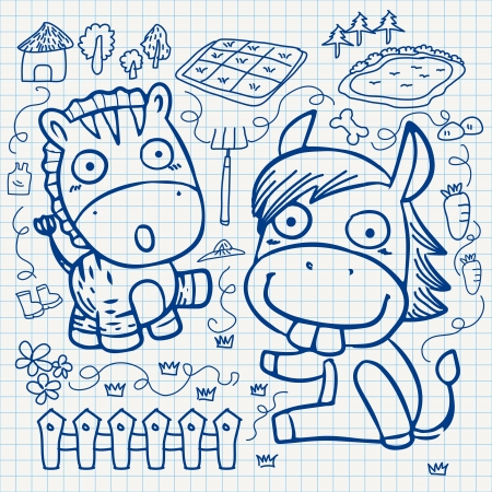 set of notebook paper doodles. Vector