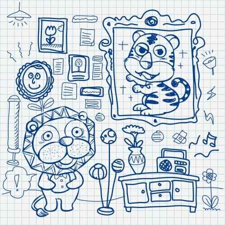 set of notebook paper doodles. Vector