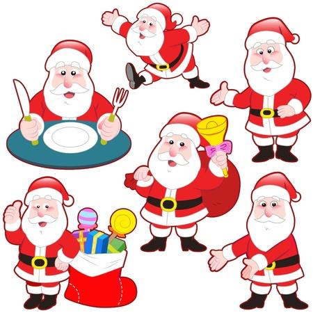 흰색 배경 가진 귀여운 만화 산타 클로스 컬렉션입니다. 스톡 콘텐츠 - 20834105