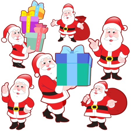 cute cartoon Santa Claus collection with white background. Vector