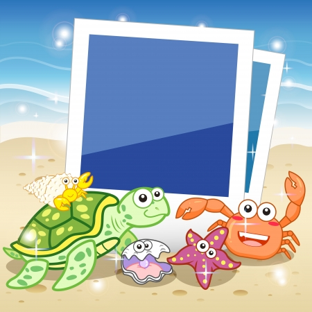 Decorative frame for photo with tropical bright fishes  Stock Vector - 20987061