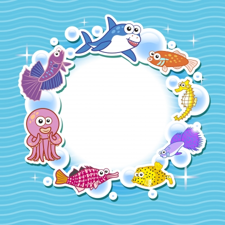 lionfish: Decorative frame for photo with tropical bright fishes