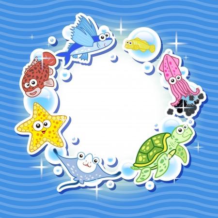 fond marin: Cadre d�coratif pour photo avec tropicales lumineuses poissons Illustration