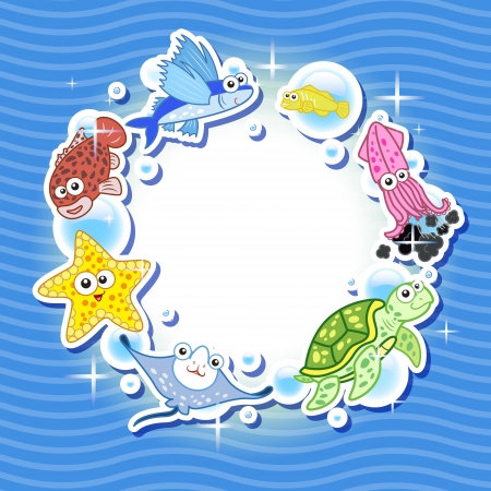 Decorative frame for photo with tropical bright fishes  Vector