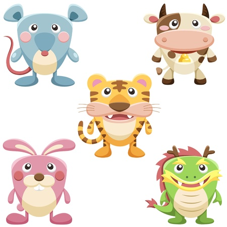 tiger isolated: five cute animals set  vector with white background Illustration