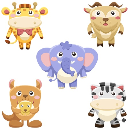 five cute animals set  vector with white background Vector