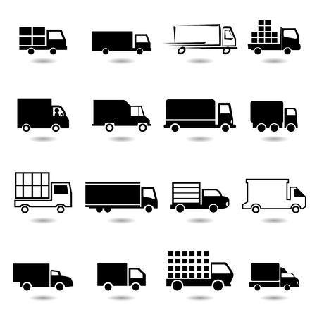 white truck: vector set of different truck symbols  All vector objects are isolated