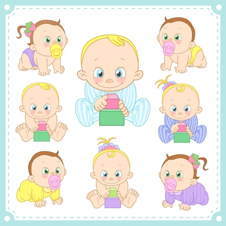 creeping:  illustration of baby boys and baby girls with white background