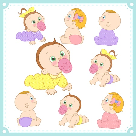 childcare:  illustration of baby boys and baby girls with white background