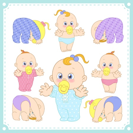 illustration of baby boys and baby girls with white background  Illustration