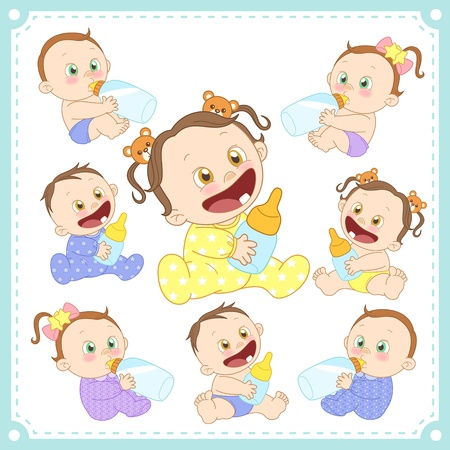 innocent girl: illustration of baby boys and baby girls with white background  Illustration