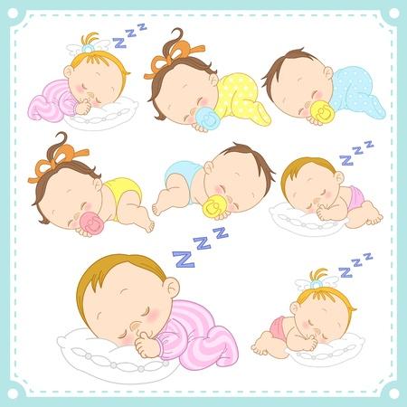 男の赤ちゃんと白い背景を持つ女の赤ちゃんのイラスト