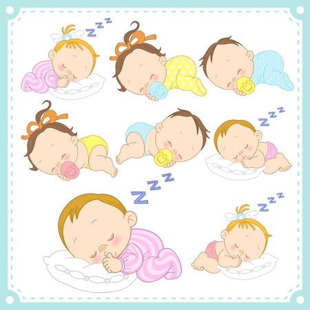 pillow sleep:  illustration of baby boys and baby girls with white background
