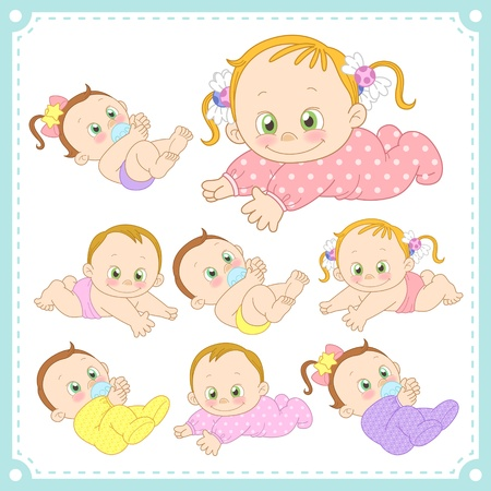 innocent girl:  illustration of baby boys and baby girls with white background