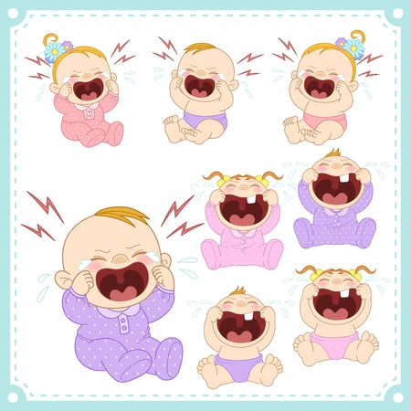 baby crying:  illustration of baby boys and baby girls with white background