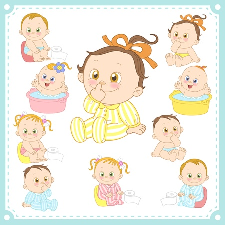 defecate: illustration of baby boys and baby girls with white background  Illustration