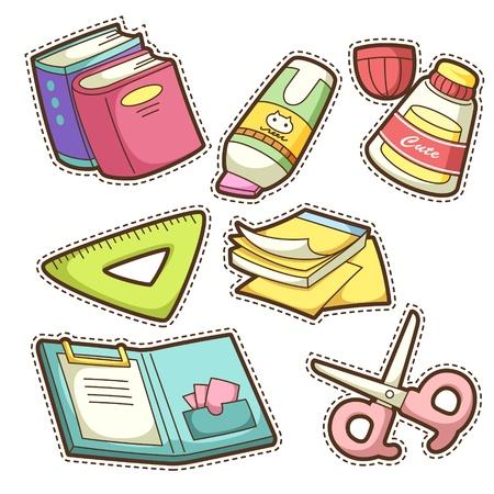 pegamento: estableció la escuela. conjunto de diferentes artículos escolares, ilustración vectorial. Vectores