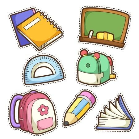 schoolbag: school set. set of different school items, vector illustration. Illustration