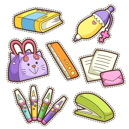 stapler: school set. set of different school items, vector illustration. Illustration