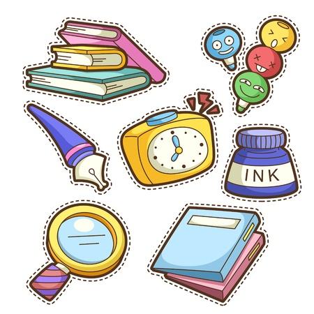 magnifier: school set. set of different school items, vector illustration. Illustration