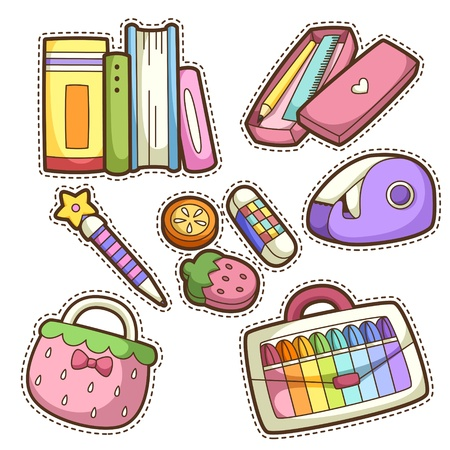 pencil box: school set. set of different school items, vector illustration. Illustration