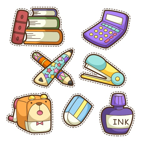 school baby: school set. set of different school items, vector illustration. Illustration