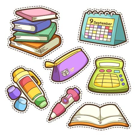school agenda: estableció la escuela. conjunto de diferentes artículos escolares, ilustración vectorial. Vectores