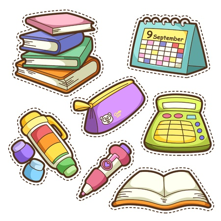 school set. set of different school items, vector illustration. Çizim